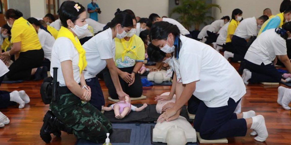 พลตรีหญิง เจ้าคุณพระสินีนาฏ พิลาสกัลยาณี เข้าร่วมกิจกรรมจิตอาสาในการฝึกปฏิบัติการช่วยชีวิตขั้นพื้นฐาน Basic Life Support (CPR AED Choking) ณ โรงเรียนจิตรลดา
