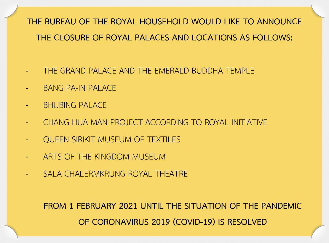 THE BUREAU OF THE ROYAL HOUSEHOLD WOULD LIKE TO ANNOUNCE THE CLOSURE OF ROYAL PALACES AND LOCATIONS
